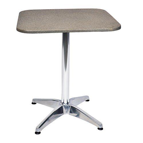 Exklusiver und hochwertiger Bistrotisch 65 x 65 cm mit witterungsbeständiger Polystone Tischplatte Höhe 70cm