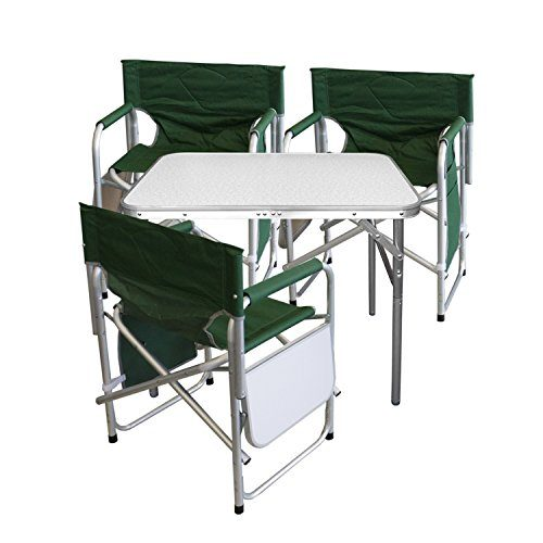 4tlg. Campingmöbel Set Gartengarnitur Campingtisch Alu Klapptisch 75x55x60cm + 3x Alu Campingstühle Klappstuhl Anglerstuhl mit Ablage und Organizer Grün