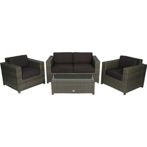Poly Rattan Lounge Set 4tlg grau Gartenmöbel Tisch Glasplatte