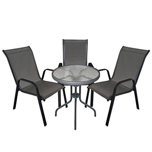 4tlg. Gartengarnitur Balkonmöbel Terrassenmöbel Set Sitzgruppe 3x Stapelstuhl Textilenbespannung + Bistrotisch geriffelte Tischglasplatte Ø60cm Gartenmöbel Sitzgarnitur