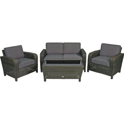 Poly Rattan Lounge Set 4tlg taupe Gartenmöbel Tisch Glasplatte