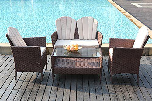 Yakoe Eton Range Outdoor 4-Teilig Polyrattan Bistro Balkon Set Sitzgruppe Gartenmöbel, Braun, 102x63x82 cm