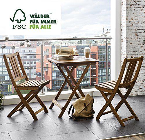 SAM® Gartengruppe Taastrup, 3tlg., Balkongruppe aus Akazienholz, FSC® 100% zertifiziert, 1 x Tisch + 2 x Stuhl, geölt, Garten-Tischgruppe, schöne Maserung, massives Holz, Sitzgruppe aus Akazien-Holz