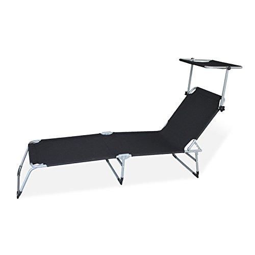 HG® Schwarz Klappbar Gartenliege mit Sonnendach Sonnenliege Camping 189cm Belastbar 110kg