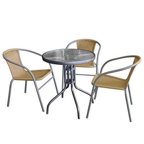 4tlg. Sitzgruppe Bistrotisch, Metallrahmen Anthrazit, Tischglasplatte geriffelt, Ø60x71cm + 3x Bistrostuhl, stapelbar, Polyrattanbespannung Beige, Stahlrohrgestell pulverbeschichtet Grau