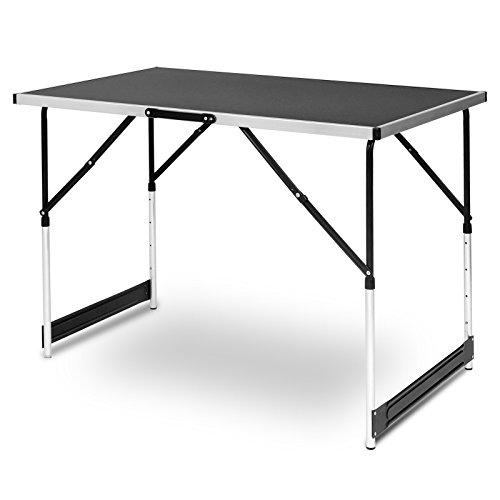 EUGAD CPT8121sz Campingtisch Arbeitstisch Klapptisch Gartentisch Balkontisch höhenverstellbar Aluminium Stahl MDF Schwarz