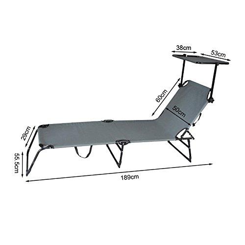 Hengda® Comfort Gartenliege Sonnenliege Strandliege Relaxliege klappbar Balkonliege Verstellbar, grau