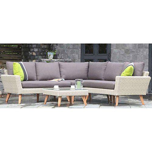 Lounge Gartenmöbel Set Andalucia 4tlg. m.Kissen natural grey Ecklounge Loungemöbel