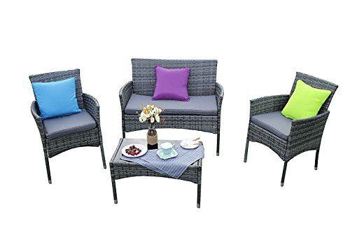 Yakoe Eton Range Outdoor 4-Teilig Polyrattan Sitzgruppe Gartenmöbel Bistro Set, Grau, 106x59x84 cm