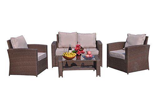 Yakoe Klassische Serie Outdoor 4-Teilig Polyrattan Sitzgarnitur Gartenmöbel Sitzgruppe Balkon Set, Braun, 128x72x78 cm