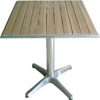 Bolero U430quadratisch Ständer Bistro Tisch Esche und Aluminium-Top, 600mm, silber