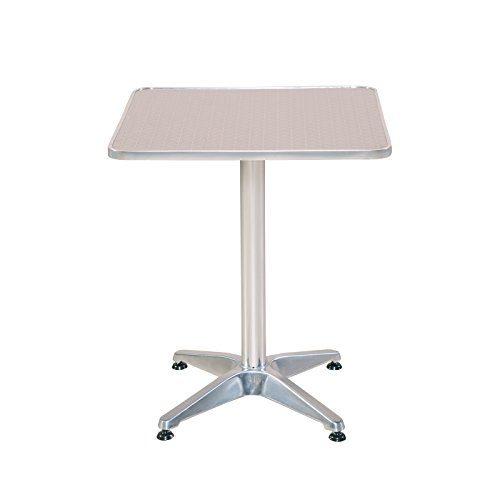 Bistrotisch eckig Aluminium Gartentisch Alu Tisch Beistelltisch Bistro Tisch 60 x 60 cm
