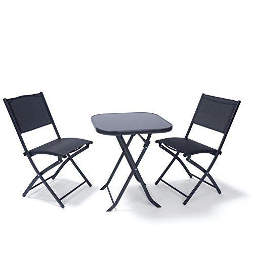 Balkonmöbel Set Paris | Klappbarer Balkontisch mit 2 Klappstühlen | Sitzgruppe 3-teilig schwarz | Klapptisch mit Glasplatte | Stühle mit Rückenlehne, Bespannung Textilene | Bistrotisch & Bistrostühle aus Metall wetterfest