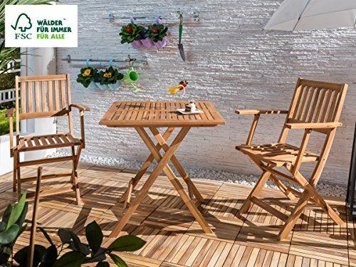 SAM 3-tlg. Gartengruppe Camelia, 1x Tisch 62x62 cm + 2 x Klappstuhl, klappbar, Sitzgruppe Akazien-Holz, FSC® 100% zertifiziert