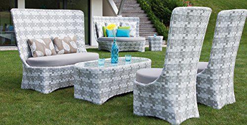 Designer Rattan Lounge Sitzgruppe Garten Terrasse 4tlg mit Polster
