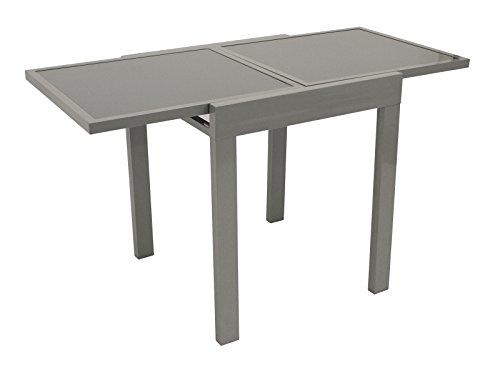 Balkontisch AMALFI aus Aluminium und Glas 65x65cm, ausziehbar auf 65x130cm