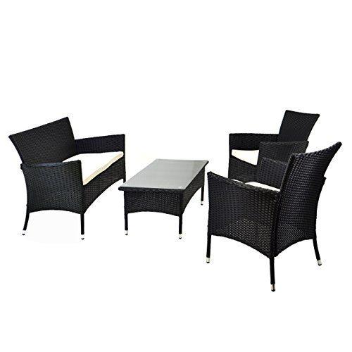 Rattan Set 4tlg mit Glastisch weiß Garnitur Sitzgruppe Gartenmöbel Poly-Rattan 4-teilig 4-sitzer