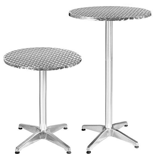 Bistrotisch Stehtisch Bartisch Balkontisch Patytisch Aluminium Tisch Gartentisch Ø60cm Outdoor Gartenmöbel Rostfrei Höhenverstellbar 75cm oder 110cm