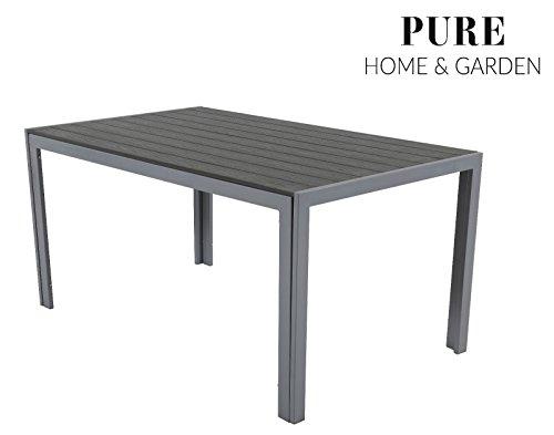 "Aluminium Gartentisch ""Fire XXL"" mit Polywood Tischplatte, 180x90 absolut wetterfest, silber aus dem Hause Pure Home & Garden"