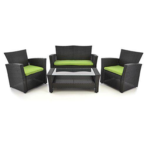 4tlg Rattanset Sitzecke mit Tisch mit 2 Sessel und 1 Sofa Garnitur Sitzgruppe Polster grün Gartenmöbel Poly Rattan Lounge In/Outdoor 4-teilig