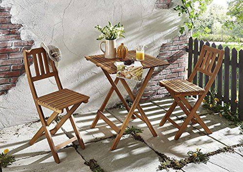 SAM® Gartengruppe, 3tlg., Balkongruppe aus Akazienholz, 1 x Tisch + 2 x Stuhl, geölt, Garten-Tischgruppe, Sitzgruppe aus Akazien-Holz