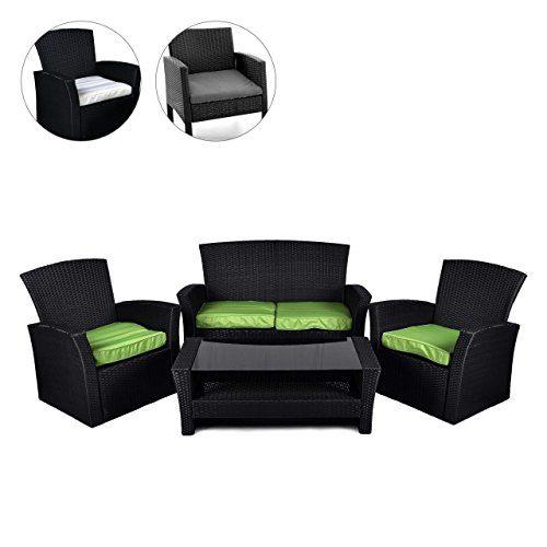 Rattan Set 4tlg mit Glastisch grün Garnitur Gartenmöbel Sitzgruppe Poly Rattan inkl. Höhenverstellbare Füße und Sicherheitsglas 4-Sitzer 4-teilig