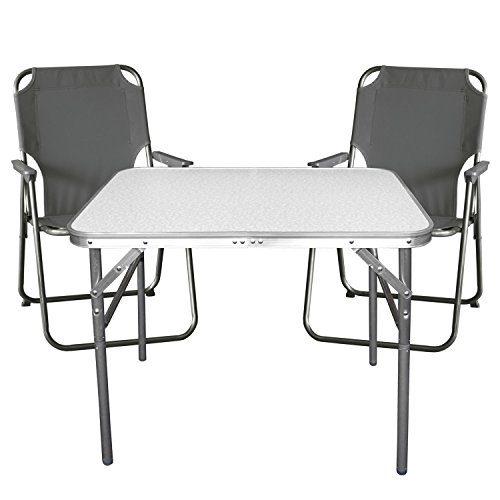 Balkonmöbel Campingmöbel Set 3tlg. Aluminium Klapptisch 55x75cm + 2x Campingstuhl, stone - Sitzgruppe Campinggarnitur Gartenmöbel
