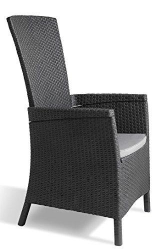 Allibert 223870 verstellbarer Dining Sessel Vermont, Kunststoffstühle Garte, grau, 64 x 68 x 107 cm
