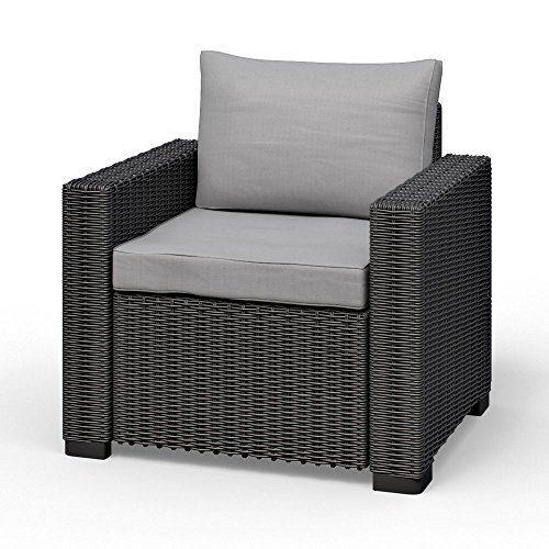 Allibert California Lounge Sessel Polyrattan Gartenmöbel Rattanoptik graphit inkl. Auflagen