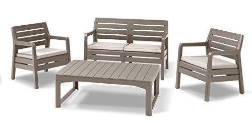 Allibert Lounge Delano Sessel-Sofa Set mit Lyon Tisch, cappuccino/sand, lounge sofa outdoor, 124 x 65 x 77 cm, 232950