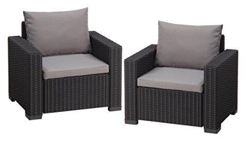 Allibert Lounge Sessel Garten, California Sessel 2 Stück, 83 x 68 x 72 cm , graue Kunststoff Lounge Sessel
