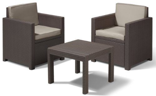 Allibert Lounge Set in Rattanoptik, Victoria Balkon, 3-teiliges Set Rattan, Kunststoff, braun