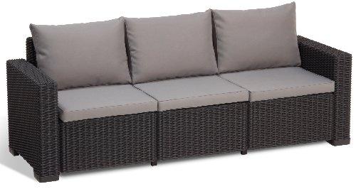Allibert Lounge Sofa Balkon California Grau 3 Sitzer Lounge Sofa Rattan