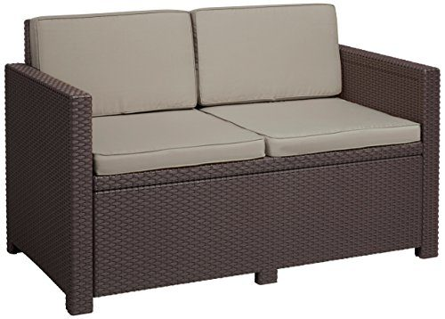 Allibert Lounge Sofa, Balkon, Victoria, braun/taupe, 129 x 63 x 77 cm, bequemes Lounge Sofa Rattan, Lounge California Sofa
