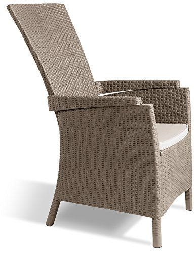 Allibert verstellbarer Dining Sessel Vermont, Cappuccino, robuste Kunststoffstühle Garten, 64 x 68 x 107 cm