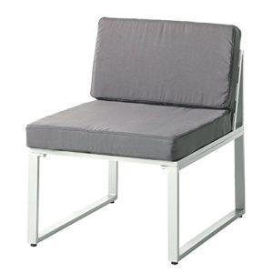 Alu Loungesessel Ecke Clubsessel Garten Sessel Sitzgruppe Lounge Möbel Set grau (Loungesessel)