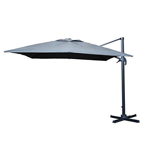 Ampelschirm Ø 300 cm anthrazit viereckig, Sonnenschirm mit Aluminium Gestell in grau, Bespannung Wasserabweisend 250g/m2 Polyester, 24 kg