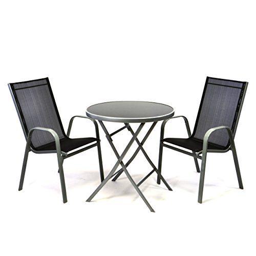 Bistroset Balkonset – Gartengarnitur Sitzgarnitur aus Glastisch & Stapelstuhl – Stahlgestell Kunststoff Glasplatte – robust stapelbar – schwarz grau
