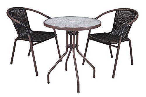 Bistroset Balkonset Rattanset – Sitzgarnitur aus Glastisch & Bistrostuhl – Stahlgestell Poly-Rattan Glasplatte – robust stapelbar – dunkel-braun
