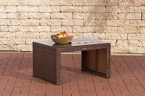 CLP Poly-Rattan Garten Lounge-Tisch CASABLANCA ca 85 x 60 cm, Höhe: 50 cm, ALU-Gestell, Glasplatte 5 mm Sicherheitsglas Braun Meliert