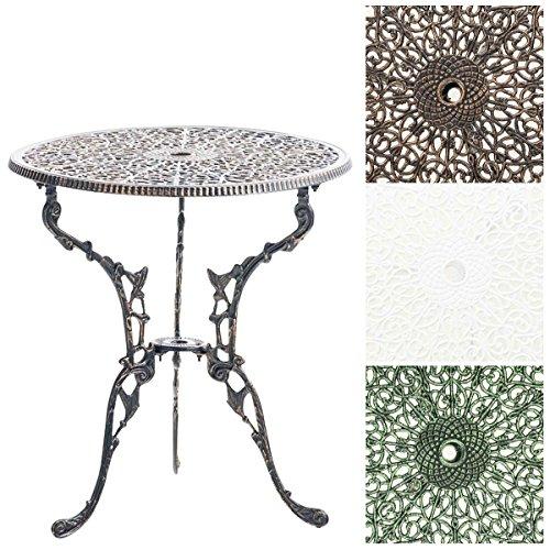 CLP Tisch DIVARI, Gartentisch rund Durchmesser Ø 60 cm, Höhe 66 cm, handgefertigt, Balkontisch, robust und witterungsbeständig Bronze