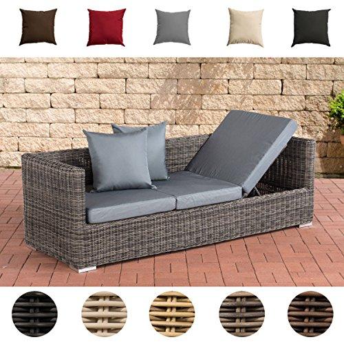 CLP flexibles Luxus Poly-Rattan 3er Lounge-Sofa SOLANO 5mm, ALU-Gestell, 5 Rattanfarben + 5 Kissenfarben, inkl. Auflagen Rattanfarbe: Grau-meliert, Kissenfarbe: Eisengrau