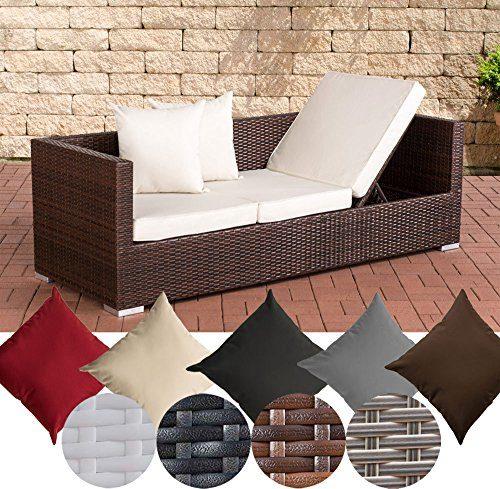 CLP flexibles Poly-Rattan 3er Lounge-Sofa SOLANO, ALU-Gestell, 4 Rattanfarben + 5 Kissenfarben, inkl. Auflagen Rattanfarbe: Braun-meliert, Kissenfarbe: Cremeweiß