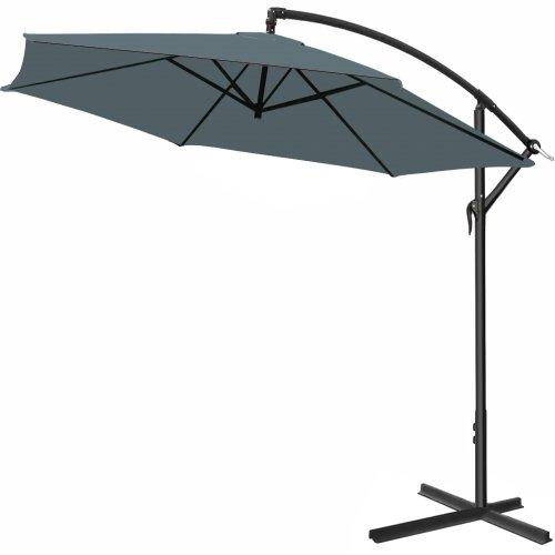 Deuba® Alu Ampelschirm Ø 300cm • anthrazit • mit Kurbelvorrichtung • Aluminium • wasserabweisende Bespannung - Sonnenschirm Schirm Gartenschirm Marktschirm