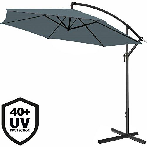Deuba® Alu Ampelschirm Ø 300cm • anthrazit • mit Kurbelvorrichtung • UV-Schutz 40+ • Aluminium • wasserabweisende Bespannung - Sonnenschirm Schirm Gartenschirm Marktschirm