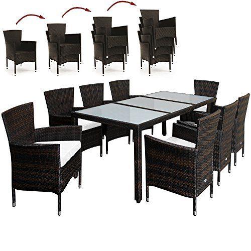 Deuba® Poly Rattan Sitzgruppe 8+1 Braun   8 stapelbare Stühle   7cm dicke Sitzauflagen Creme   wetterfestes Polyrattan [ Modell- & Farbauswahl 4+1 / 6+1 / 8+1 ] - Gartenmöbel Gartenset Lounge Sitzgarnitur Essgruppe Set