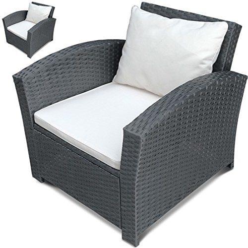 Einzelsessel aus Polyrattan   2er Set   Farbwahl   Premium Lounge Sessel   Lounge Sofa   Gartenmöbel   Rattan Sessel   Balkonmöbel Farbe Grau
