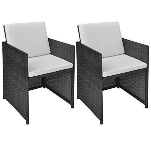 Festnight 2er-Set Esszimmerstühle aus Polyrattan Gartenstuhl Garten Essstuhl mit 4 Kissen Gartensitzgruppe 52x56x85cm für Terrasse Garten Schwarz