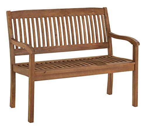 Gartenbank Sitzbank Holzbank SOUTA 1 | BxHxT: 107 x 91 x 63,5 cm | Braun | Akazienholz | 2-Sitzer