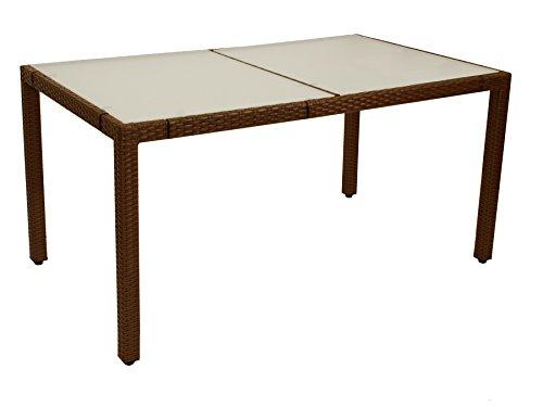 Gartentisch MONTREUX 90x150cm, Metall + Geflech braun, Tischplatte Glas